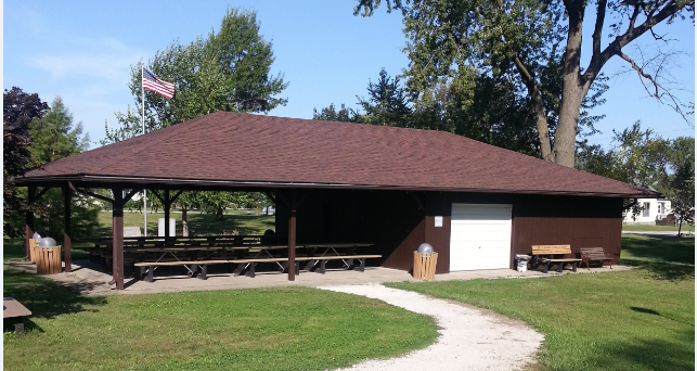 There are two park shelters available to rent in the Stratford Park. The North Shelter (pictured) has a kitchen available. The South shelter is an open air shelter.